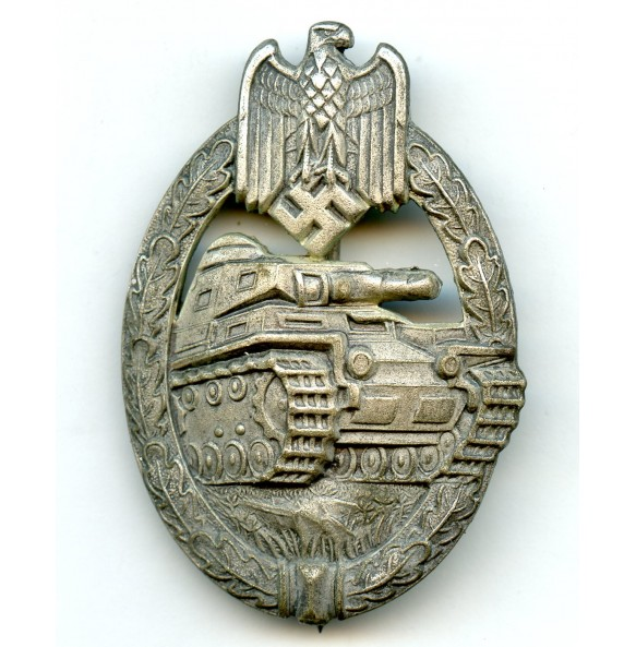"""Panzer assault badge in silver by F.A. Assmann & Söhne """"A"""""""