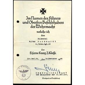 Iron cross 2nd class award document to W. Burkhardt, Gren Rgt 16, Anti partisan fighting, Serbia, nov 1944