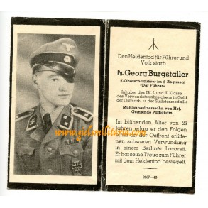 """SS Death card to SS-Oberscharführer Burgstaller, regiment """"Der Führer"""", EK1, WBiG"""