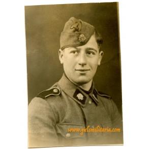 "SS portrait photo SS-Rottenführer ""Totenkopf"", Libourne France"