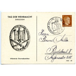 Postcard with general assault badge, Tag der Wehrmacht