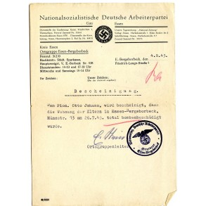 NSDAP Essen-Bergeborbeck, house destructed document 1943