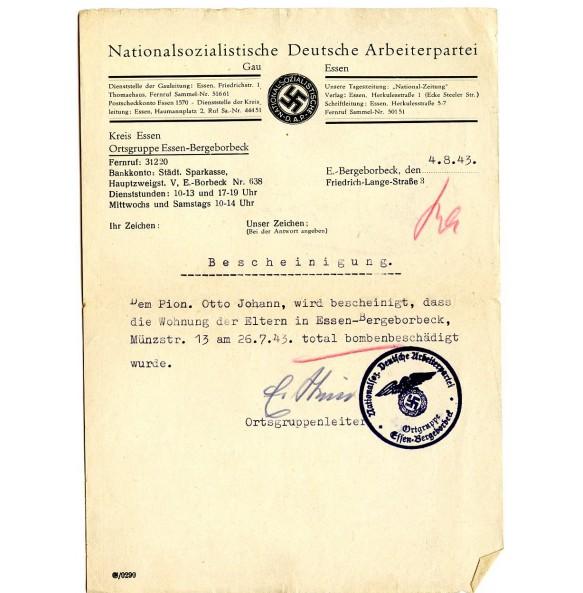NSDAP Essen-Bergeborbeck, house destructed document 1943