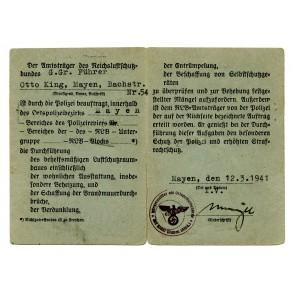 RLB Luftschutz pass to G.Gr. Führer Otto King, 1941, nr 1!!!