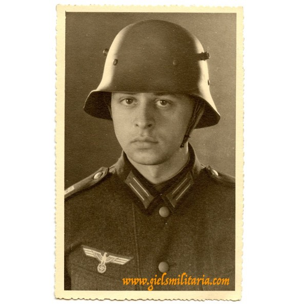 Portrait soldier with foreign helmet