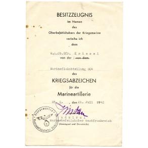 Coastal artillery award document to Marine ObGefr. Kriesel, West France (Brest) 1942