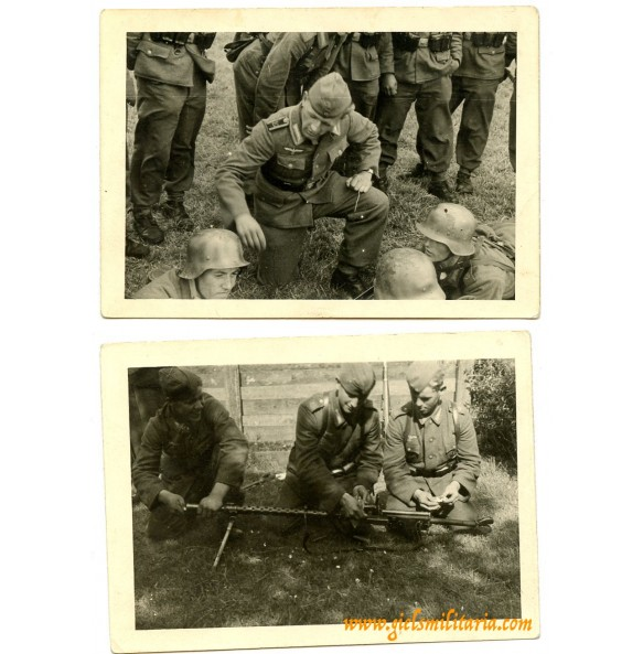 2 private snapshots anti tank training coastal artillery Aug.1944, camouflage helmets
