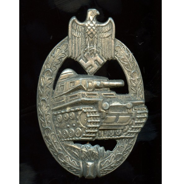 """Panzer assault badge in silver by """"AS"""", cut out grass variant"""