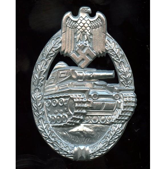 Panzer assault badge in silver by E.F. Wiedmann MINT
