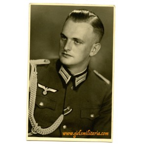 Portrait army officer with parade lanyard