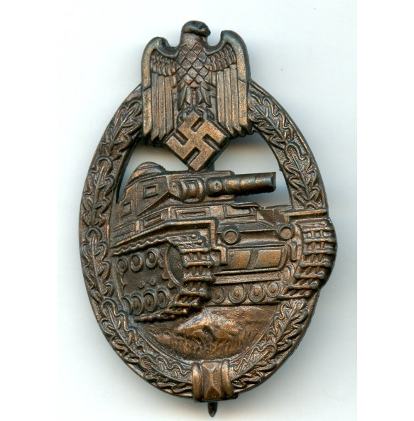 """Panzer assault badge in bronze by R. Souval """"R.S."""" wide pin variant"""