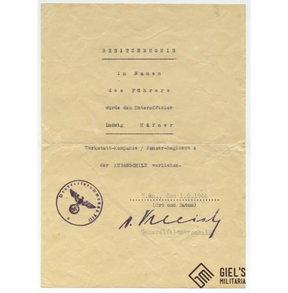 Award document for Kuban shield, Pz Rgt 4