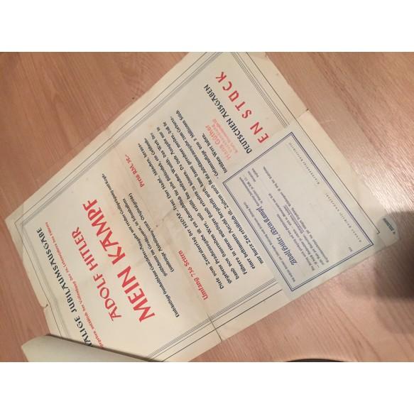 """Old """"Mein Kampf"""" promotion poster + order sheet!"""