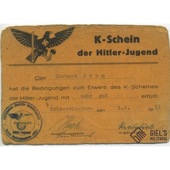 HJ Hitlerjugend K-Schein grouping