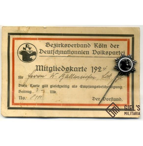 Deutschnationale Volkspartei ( DNVP ) + member card