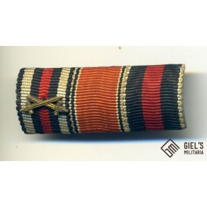 Ribbon bar Hindenburg cross + flower war medals