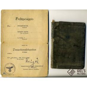 Wehrpass to G. Kotz, SR1, 1st Pz Division, PAB bronze
