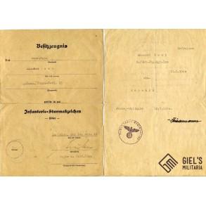 2 award documents to Oberjäger R. Vest, GJR100 in France