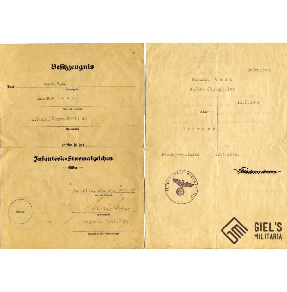 2 award documents to Oberjäger R. Vest, GJR100 in France
