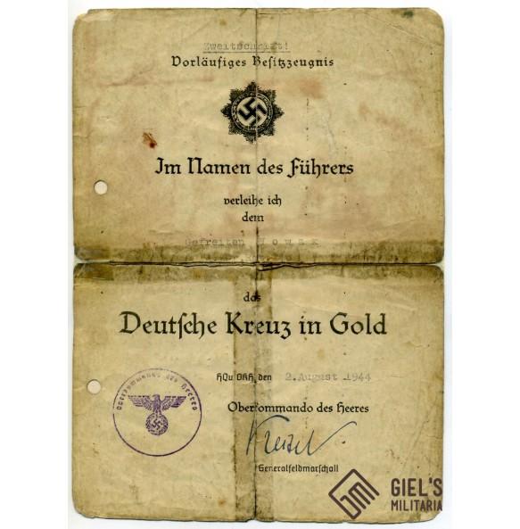 German cross in gold award document to R. Nowak, 4./Gren.Rgt. 240 Kischinew