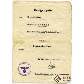 Award documents to R. Gerber, MG Batl 5, wounded June 1940 France!