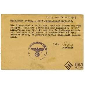 Flak badge and east front medal documents