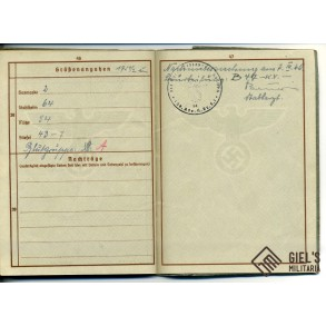 Wehrpass to A. Zilke, Polen, Belgium, France 1940 and Italy 1944