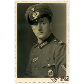 Portrait photo Obergefreiter with IAB, EK2 east front medal and wound badge