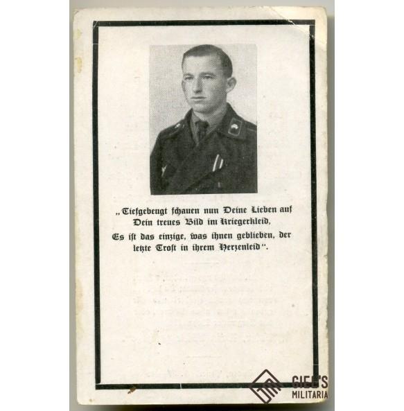 Death card to J. Ratzenböck, ROB, Panzermann, EK1, PAB75 (?)