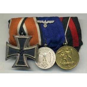 3 place medal bar, iron cross 2nd class by C.E. Juncker
