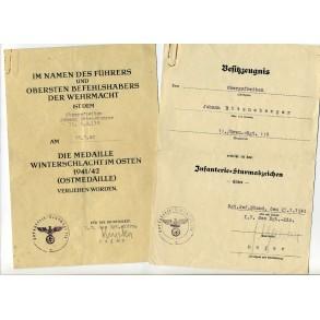 2 award documents to J. Ettensberger, Gren Rgt 118