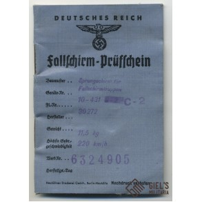 Luftwaffe paratrooper parachute check card