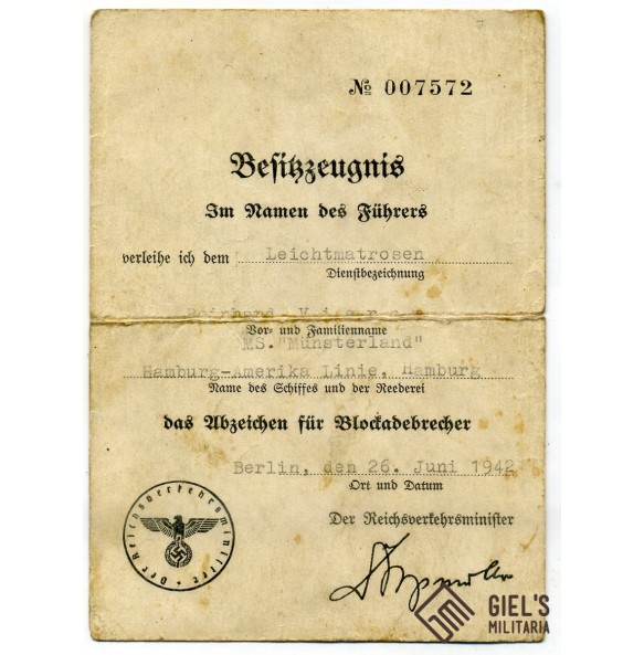 "Blockade runner bagde award document to R. Viera, MS ""Münsterland"" Hamburg-Amerika Linie"