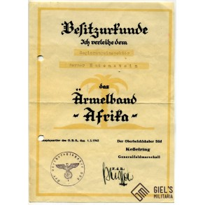 Afrika cufftitle award document to W. Hauenstein