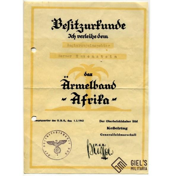 Afrika cufftitle award document to W. Hauenstein