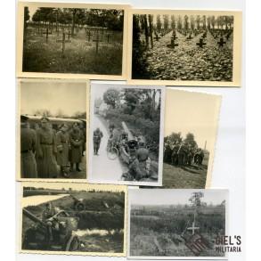 Photo lot Belgium 1940, armoured vehicle, Langemarck graveyard,...