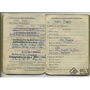 Soldbuch to Gefr. L. Kappler, Black wrapper, WIA 1945