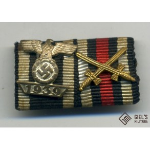 2 place ribbon bar with iron cross clasp 2nd class