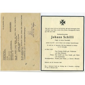 Small document grouping to J. Schilli, EK1 holder, pionier, KIA Letvia 1944
