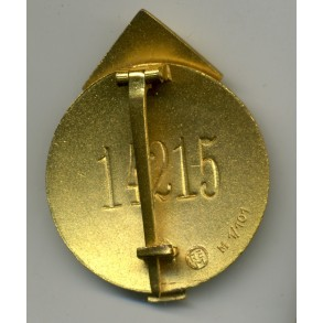 HJ Leader's sports badge in gold. #14215 + inlet