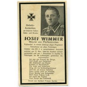 Death card to J. Wimmer, Mountain trooper, EK2, KIA Aachen