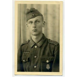 Portrait army soldier with HJ leader badge in silver