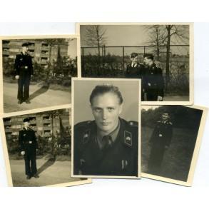 Panzer crew in black wrapper, NCO portrait, photo lot
