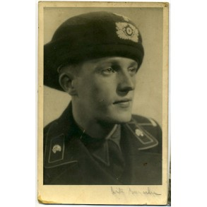 Portrait photo panzer crew member with early baret