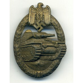 Panzer assault badge in bronze by P. Meybauer