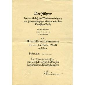 1st October Czech annexation medal award document to A. Renner