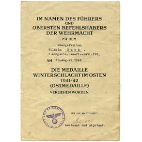 East Front medal award document to O.Gefr. W. Mack, Bau-Pionier Batl. 222