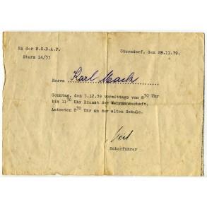 SA Sturm 14/33, NSDAP meeting Oberdorf document