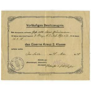 WW1 Iron Cross 2nd class award document to A. Gründmann