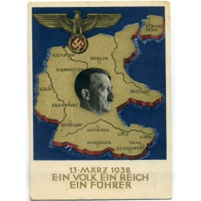 Third Reich propaganda postcard annexation of Austria